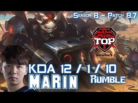 TOP MaRin RUMBLE vs SKARNER Jungle - Patch 8.7 KR Ranked
