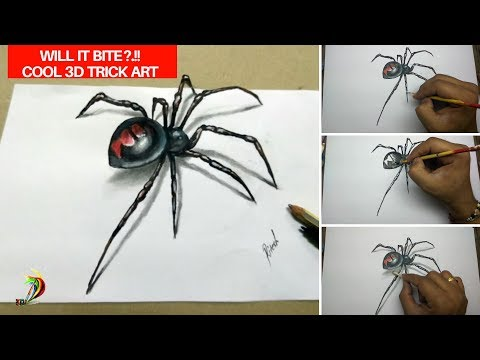 3d spider drawing | 3D Drawing For Kids Step By Step | How to draw 3d spider
