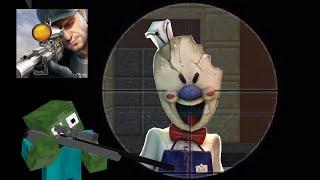 Monster School : SNIPER 3D GUN SHOOTER SHOOT ICE SCREAM CHALLENGE - Minecraft Animation