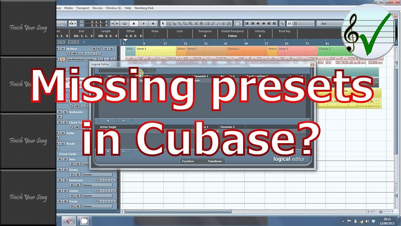 Restoring missing Presets in Cubase
