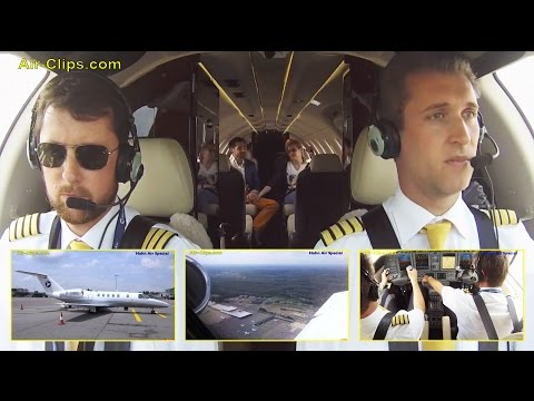 Cessna Citation Jet 4 (C525C) Hahn Air scheduled flight IN COCKPIT [AirClips full flight series]