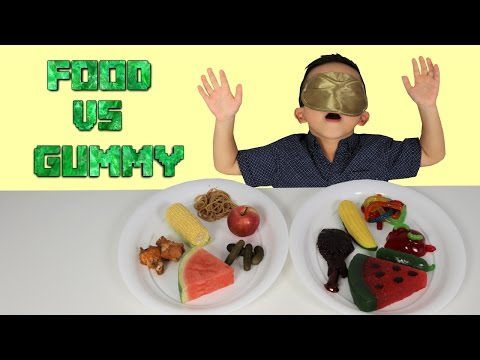 Thumbnail: SURPRISE Real FOOD Vs GUMMY Kids Fun Challenge Giant Candy Sweets Yummy Food Tasting Game Ckn Toys