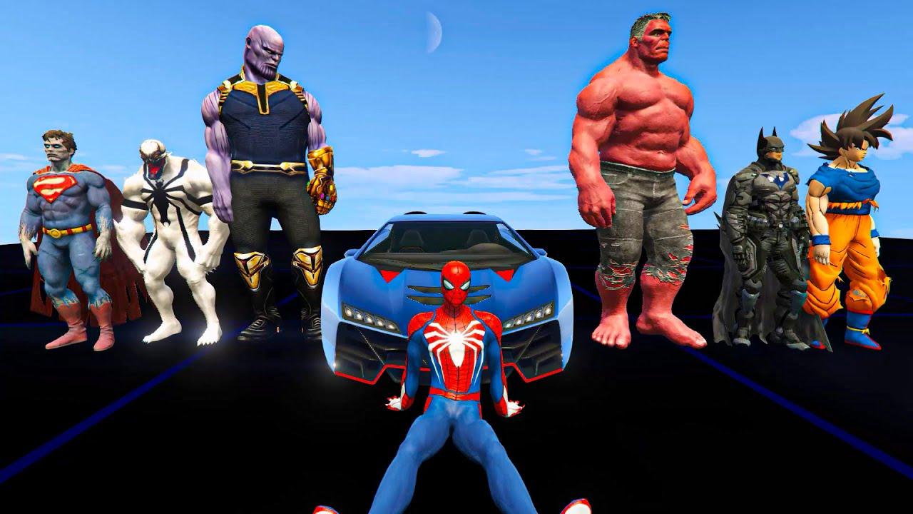 Spider-man aur Superheroes ka Mega Ramp Stunt Challenge in GTA 5
