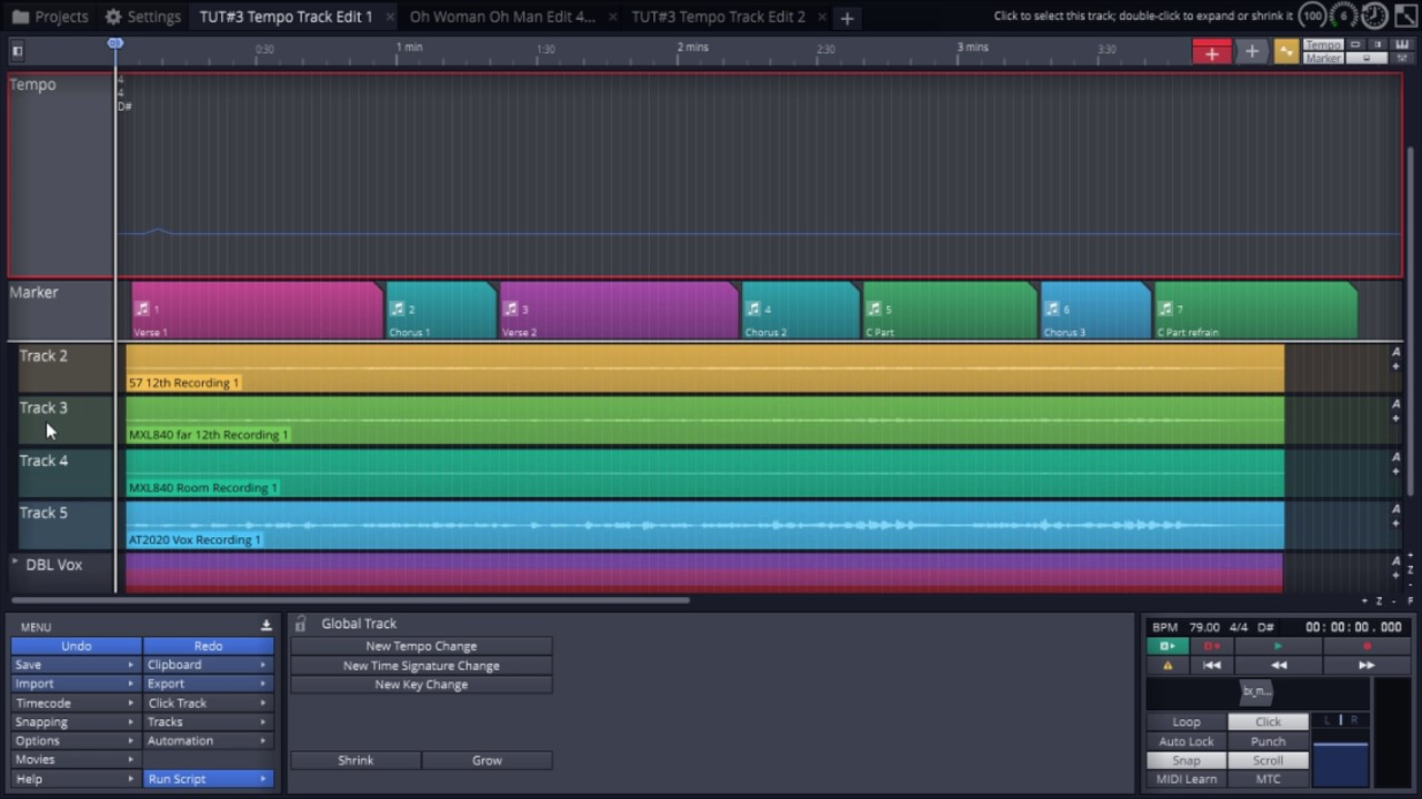 Tempo and Marker Tracks in Waveform (Tracktion 8) - Sync to Live recording