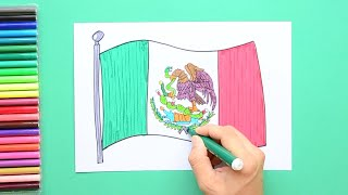 How to draw and color the National Flag of Mexico