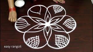 easy cute and unique rangoli designs with 5x3 interlaced dots - creative kolam designs - muggulu
