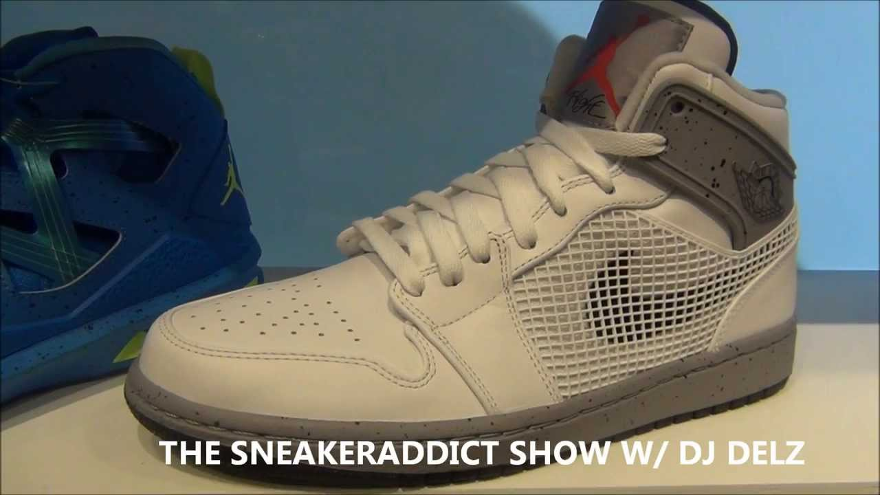 huge selection of 08cd6 4cf7d Air Jordan 1 White Cement Retro Mid 89 Sneaker Review W  Dj Delz  HotOrNot