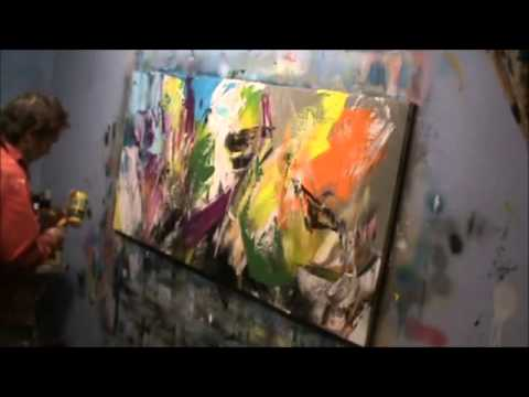 Making an abstract painting and live music