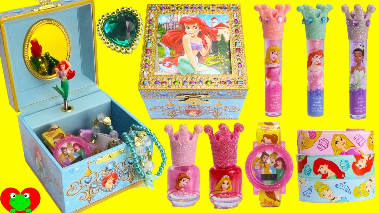 Disney Princess Ariel Music Box Lip Balms Jewelry and Surprises