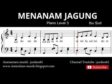 Notasi Balok Menanam Jagung - Tutorial Piano Level 3 - Not Lagu Anak Indonesia - Instrument