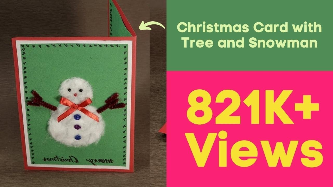 how to make diy pop up christmas card with tree and snowman youtube