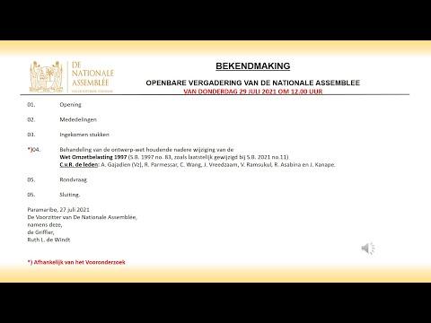 29 Juli 2021 -  OPENBARE VERGADERING VAN DE NATIONALE ASSEMBLEE