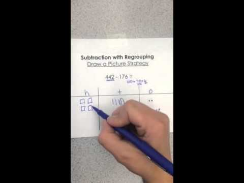 Subtraction Regrouping Using Draw A Picture Strategy Youtube