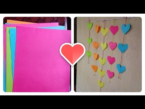 DIY Wall hanging heart chain with paper - Easy Wall Decoration Idea