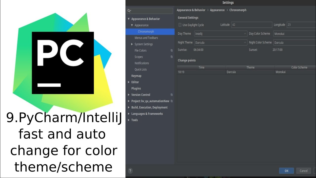 PyCharm/IntelliJ fast and auto change of the color theme