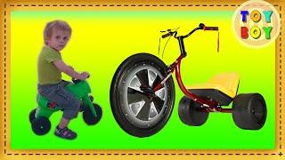Детский трехколесный велосипед. Детский велосипед в подарок. #Toyboy(Маленький мальчик Даниэль из Израиля катается на детском велосипеде. Детский велосиед ему подарили на..., 2016-05-19T07:57:51.000Z)
