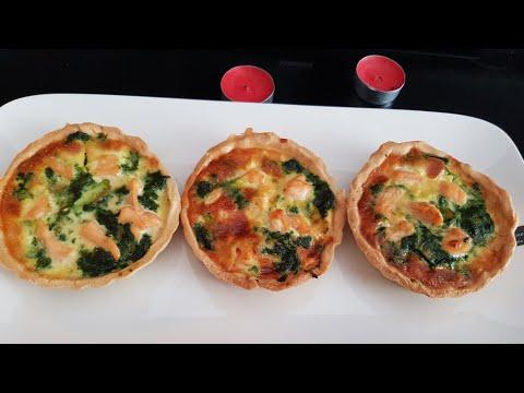 mini-quiche-aux-épinards,-saumon-et-champignon