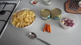 "Домашний суп с консервой ""сардина""."
