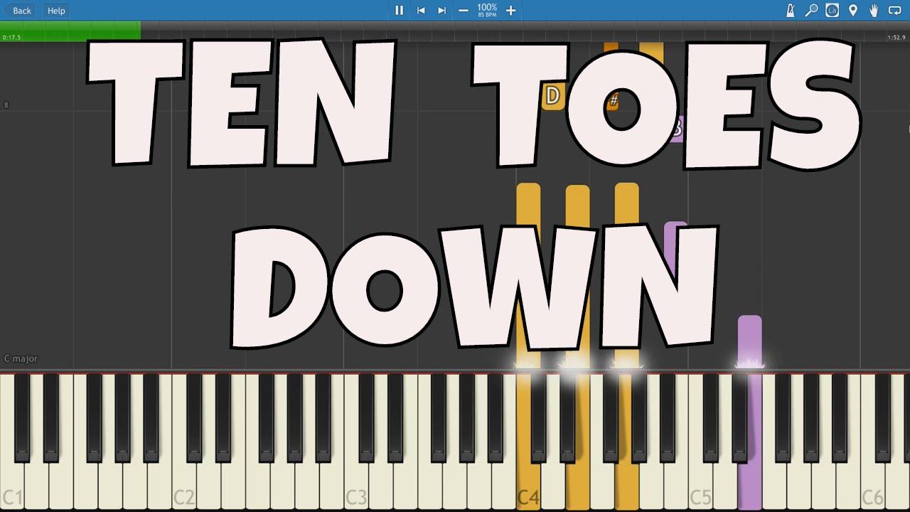 Ten Toes Down Challenge Piano Tutorial Instrumental Chords