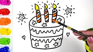 Coloring Pages for Kids to teach Children How to Draw a Star Birthday Cake and Color using Paint