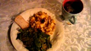 Hcg:  P2 Dinner ~*~ Orange Fish, Spinach Chips, Toast And Tea