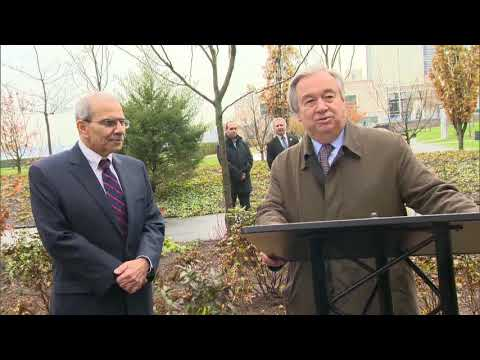 U.N. Secretary-General Antonio Guterres and Nawwaf Salam plant a Cedar for Lebanon's independence