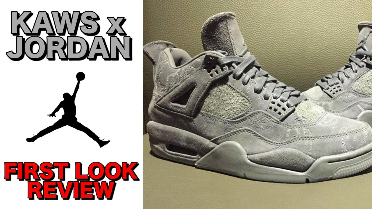 Air Jordan 4 x Kaws Glow In The Dark CoolGrey Size 10.5