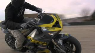 Two brothers racing stunt team drift bike