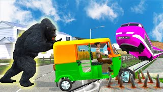 Simulator a tricycle hit by a nail and kong rescues where the railway crossing - part 4 screenshot 5