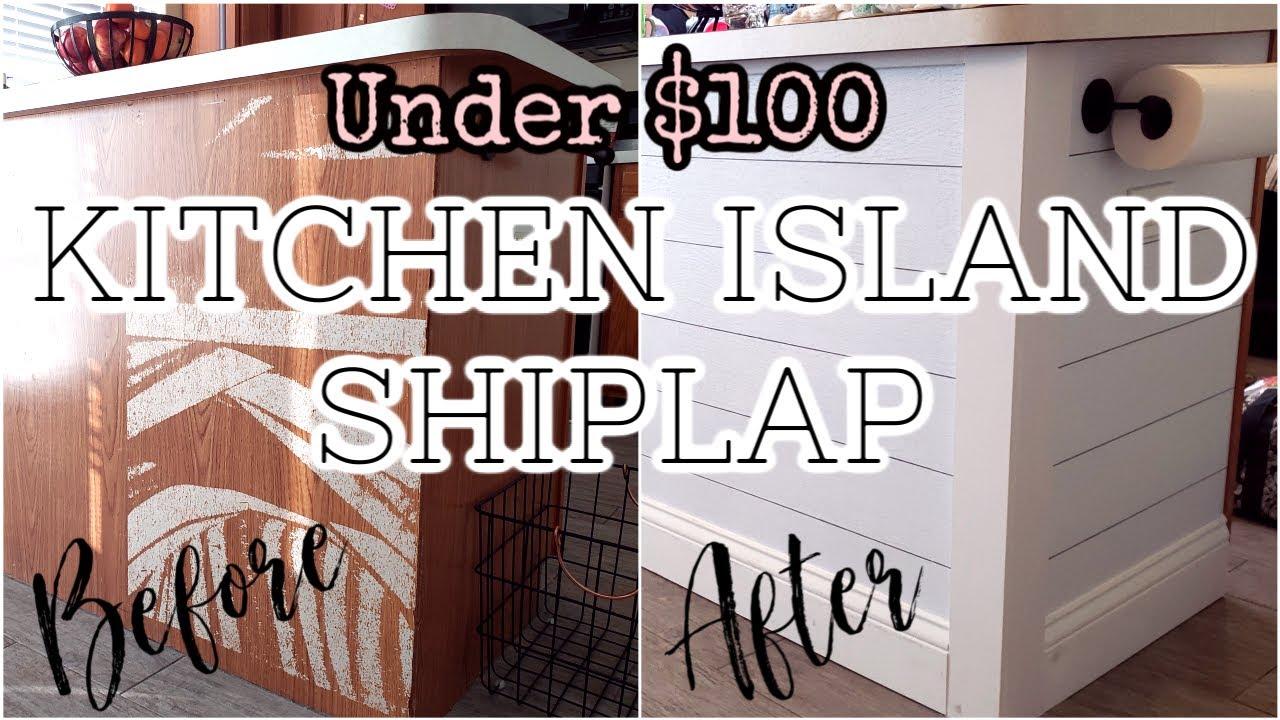 Kitchen Island Transformation Budget Friendly Shiplap Wallpaper Momceo Mighty Mama Youtube