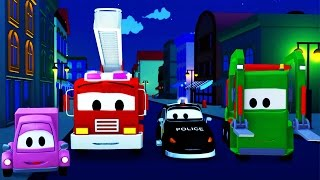 Devriye Aracı itfaiye kamyonu ve polis arabası ve Gecenin Gizemi Kamyonlar çocuklar için çizgi film