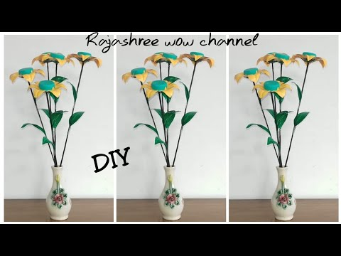 Waste material recycle craft/Best out of waste/Plastic bottle flower making tutorial/DIY/Home Decor