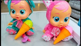 Cute Funny Baby Dolls eating Ice Cream