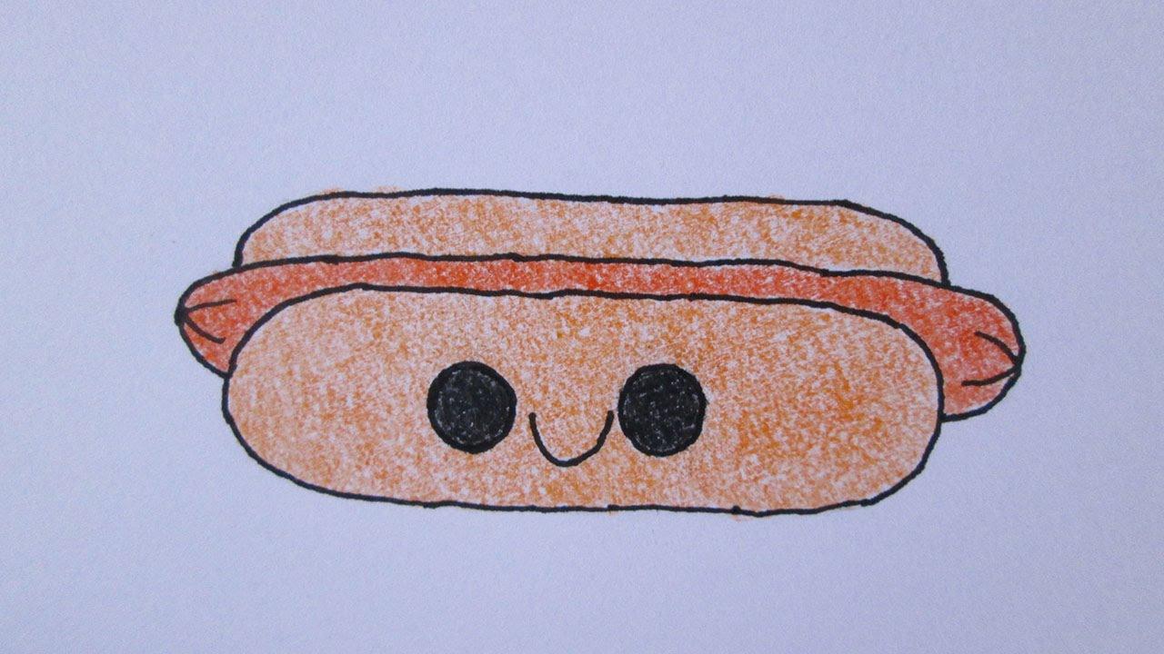Cómo dibujar un perro caliente kawaii - YouTube