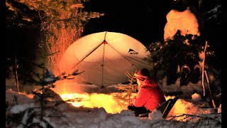 Summer tent in Sฑow - Winter Camping in the Forest