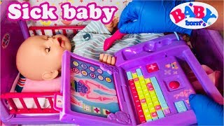 Baby Born gets sick has to stay in the hospital baby born doll video zapf