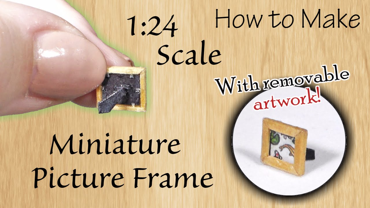 miniature picture frame tutorial dollhouse how to make 1 24 scale diy youtube. Black Bedroom Furniture Sets. Home Design Ideas