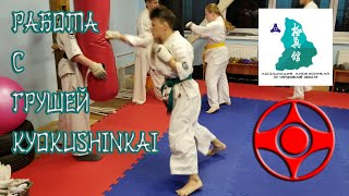 Kyokushinkai karate training. Рабочие будни кекусинкай каратэ. Работа с грушей.