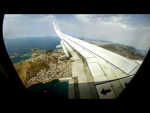Ryanair B737-800 Full Flight FR1245 to ATHENS - RHO Takeoff, ATH Landing - GoPro Wing View!