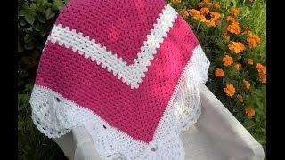 "Детский плед крючком ""Малиновое облако""_1_Plaid crochet ""Crimson cloud"""