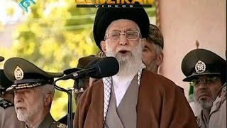 Scenes of military parade and Ayatollah Khamenei speech about  inspection of military bases