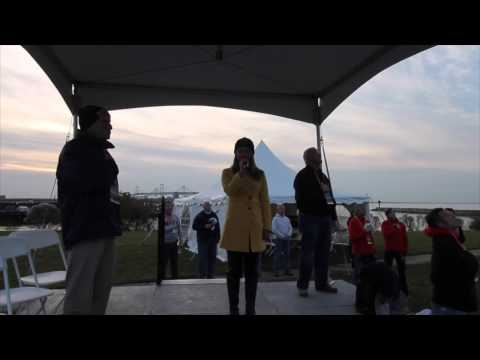 The national anthem sung by Madison Park