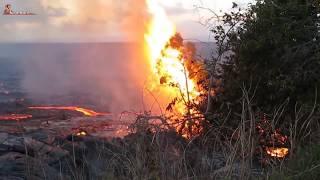 Kilauea volcano eruption  Lava destroyed everything in the way near leilani estates, Hawaii, 2018