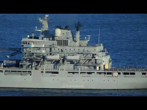 German Navy Berlin class A1412 FGS Frankfurt am Main with SNMG2 in Chios Strait.