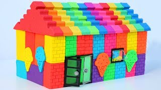 Learn Colors Ice Cream House Kinetic Sand Rainbow House With Play Doh How To DIY For Kids