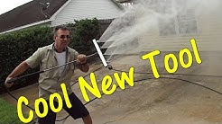 How To Pressure Wash a Concrete Patio - Water Broom Demo - BE Whirl-a-Way Demo Review