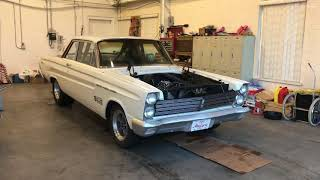 1965 Mercury Comet drag car 1st startup after rebuilt motor