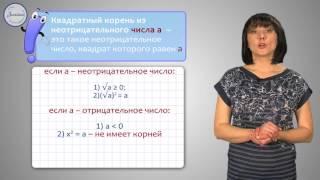 Алгебра 8 класс. Понятие квадратного корня из неотрицательного числа