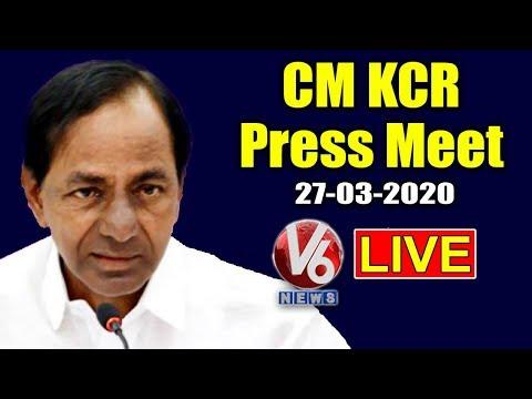 CM KCR Press Meet LIVE  27-03-2020   Telangana LockDown   V6 News