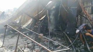 بدء من سلة قمامة ..حريق هائل بسوق توشكى في حلوان